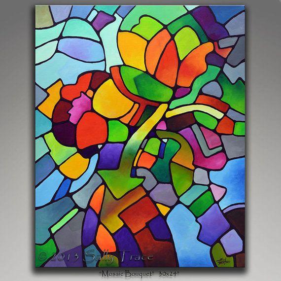 Stampa artistica fatta da mio geometrica originale natura morta dipinto Mosaico Bouquet, 24 x 30 pollici. Immagine è specchio-avvolto intorno a 1,5 pollici profondo essiccato in legno barella bar. Una pittura di natura morta floreale astratto bella suggerendo mosaico, vetrate, cubismo.  Stampato con inchiostri a pigmento archival ricco, vivido su una tela di poli-cotone spesso. Limmagine è specchio avvolto intorno 1.5 bar barella di legno essiccato in modo profondo e pinzato sul retro. La…