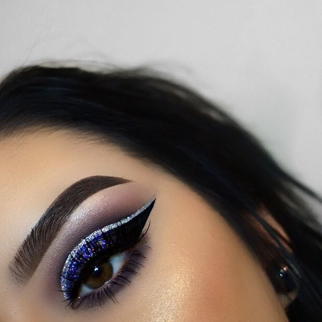 Using my @mywunderbrow brow gel in black/brown.... @loraccosmetics lorac pro eyeshadow palette( deep purple and black shadow)... @morphebrushes single shadows in Candy Bloom and Couture... Brushes from @morphebrushes... @newyorkcolorcan liquid liner in black... @maybelline gel liner in blackest black... @nyxcosmetics crystal gun metal glitter...@nyxcosmetics glitter in violet... @toofaced glitter glue... @gerardcosmetics Hilighter in Grace... @beccacosmetics Champagne pop Hilighter…