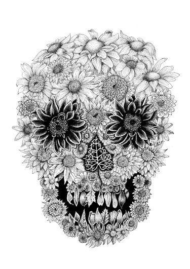 floral skull tattoos - Google Search