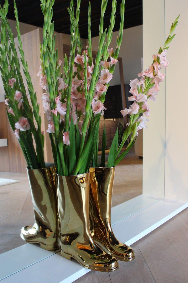 Gold Wellington Boots /// More on Interiorator.com