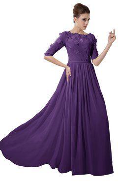 91f32eaa893 ColsBM Rene Dark Purple Bridesmaid Dresses Boat Flower A-line Elastic Elbow  Length Sleeve Hawaiian
