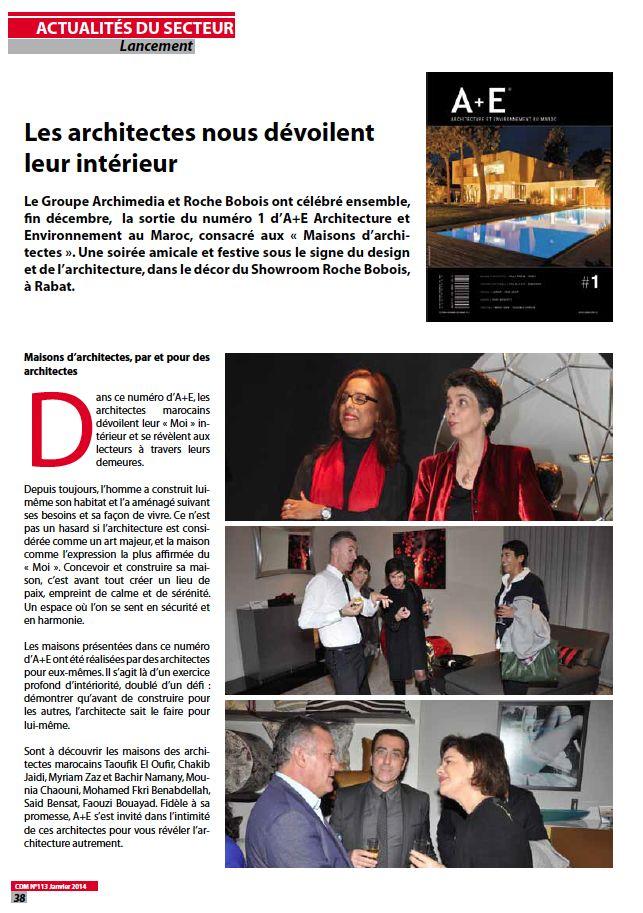 Chantiers du Maroc  Parution - Soirée de lancement A+E Chantiers