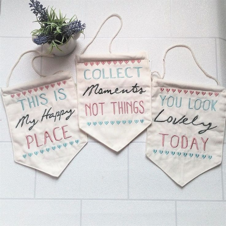 Such pretty hanging pendants as seen in our June happymail Cotton pendant banner flag stitched in pretty pastel colours 3 inspirational messages