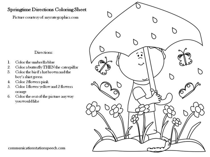 FREEBIE Friday Springtime Directions Coloring Sheets