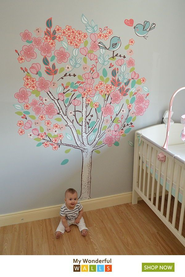 Spring Love Tree Wall Mural Sticker Kit Girls Wall Mural Tree