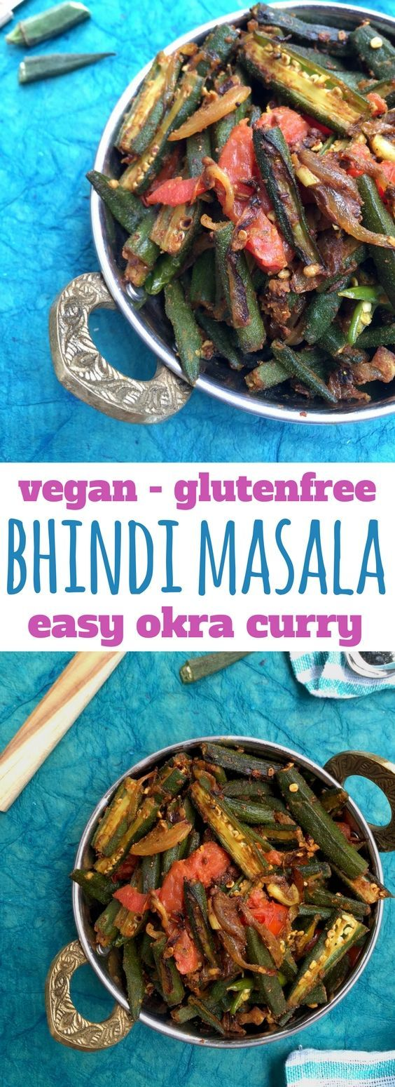 Okra Recipes   An easy bhindi masala (okra curry) made with onions and tomatoes - vegan and gluten free, easy Indian cooking. This can be eaten with any Indian flatbread or with dal and rice.  Bhindi Masala   Okra Curry   Easy Indian Okra recipe #indiancooking #okra  . get the recipe here https://www.saffrontrail.com/quick-and-easy-bhindi-masala-spicy-stir-fried-okra-recipe/ #vegan #glutenfree