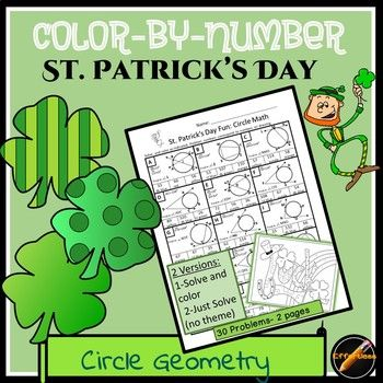 Solve 30 circle geometry questions and reveal the color code for the picture. 2 versions included in this product: a coloring version with a St. Patrick's day theme and a non-coloring version with no theme for a review or a quiz. Skills included are: inscribed quadrilaterals, intersecting lines within a circle, two tangents, two secants, one tangent and one secant(exterior), and one tangent