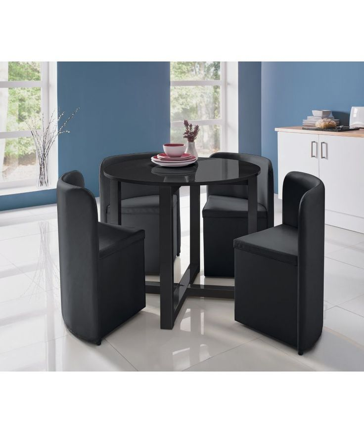 Buy hygena black gloss space saver table and 4 chairs at for Compact table and chairs set