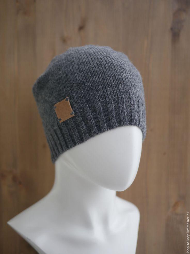 Купить Мужская вязаная шапка - темно-серый, однотонный, простая шапка, шапка, вязаная шапка