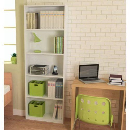 Bookcase White 5 Shelf Bookshelf Adjustable Furniture Shelving Book Wood Storage #1