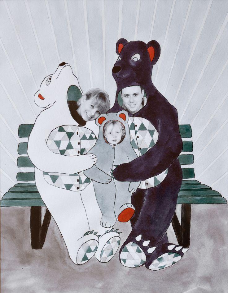 Bjørnefamilien - family portrait. Watercolor and ink illustration by Katrine Mosegaard