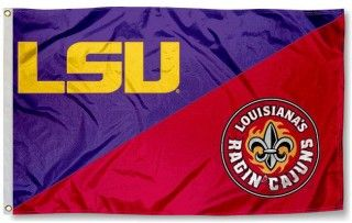 House Divided Flag - ULL vs. LSU measures 3x5 feet, is made of polyester, has quadruple-stitched fly ends, and NCAA college team logos are screen...
