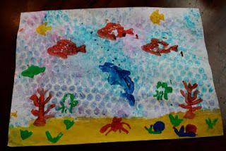 Bubble Wrap Printmaking: Ocean Scene