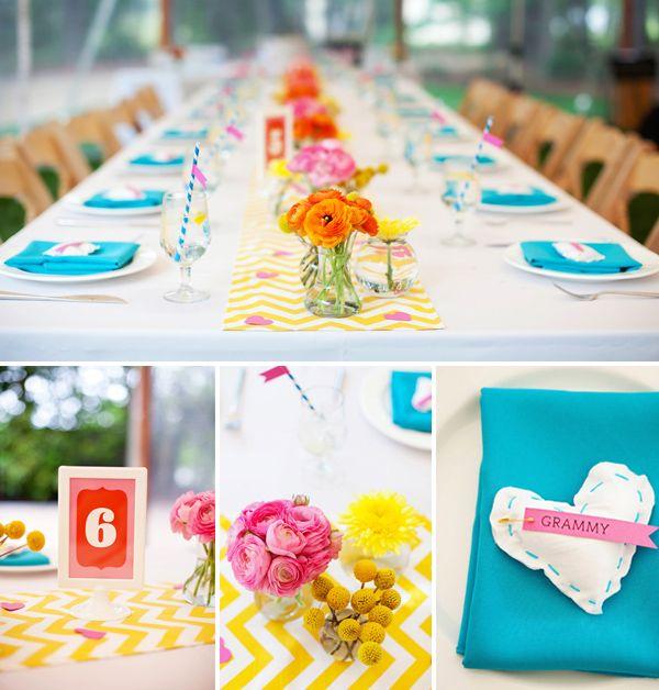 Hey Look: INSPIRATION MARIAGE COLORÉ: Tableau des réglages et centres de table