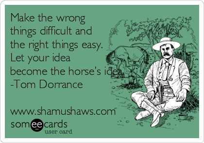Make the wrong things difficult and the right things easy. Let your idea become the horse's idea. -Tom Dorrance www.shamushaws.com.
