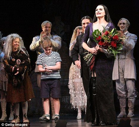 On stage: Brooke takes centre stage with her fellow cast members at the Lunt-Fontanne Theatre in New York City