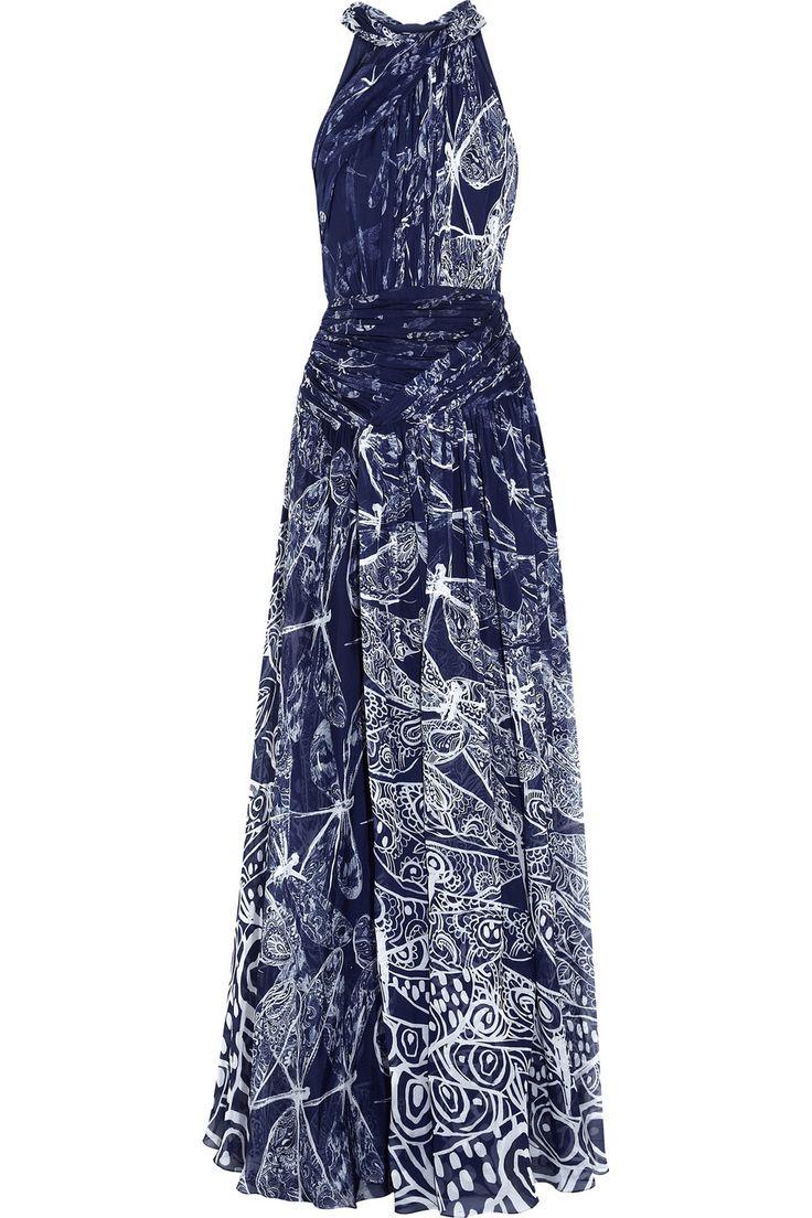 Matthew Williamson Woman Pompom-trimmed Printed Silk Midi Dress Coral Size 8 Matthew Williamson o2cs1jWCP