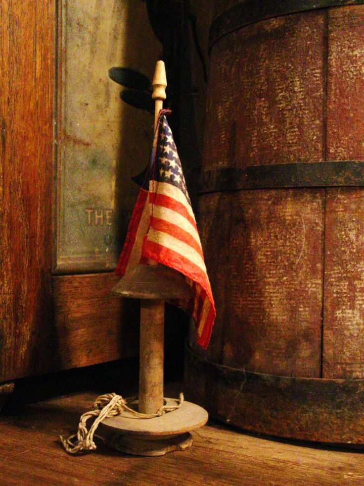 Early Spinning Wheel Spindle With Primitive 48 Star Flag.