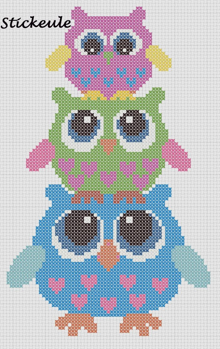 Free Owls Cross Stitch Chart or Hama Beads Pattern