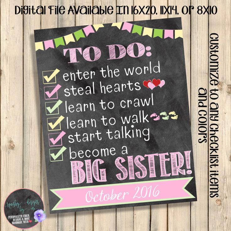 Easter Become A Big Sister To Do List Pregnancy Announcement, Checklist Chalkboard Pregnancy, Promoted Big Sister, Baby Number #2, Digital by SquishyDesignsbyMe on Etsy