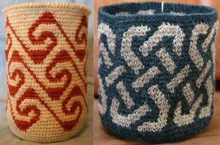 Tapestry Crochet Baskets celtic knot