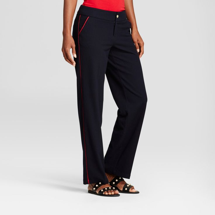 Women's Straight Leg Side-Piped Trouser - A New Day Federal Blue 14