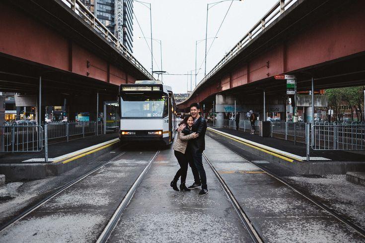 Engagement Trams industrial wedding Melbourne Australia photographer