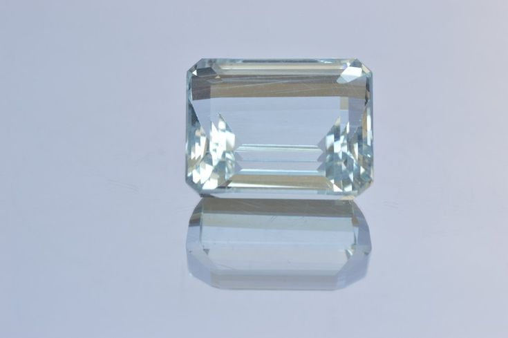 Very Light Blue Aquamarine. Emerald cut. MdMaya Gems