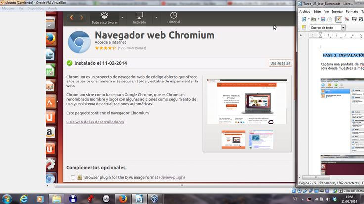 De la instalación del Chrome en ubuntu. Se encuentra en el VirtualBox. https://www.virtualbox.org/wiki/Downloads