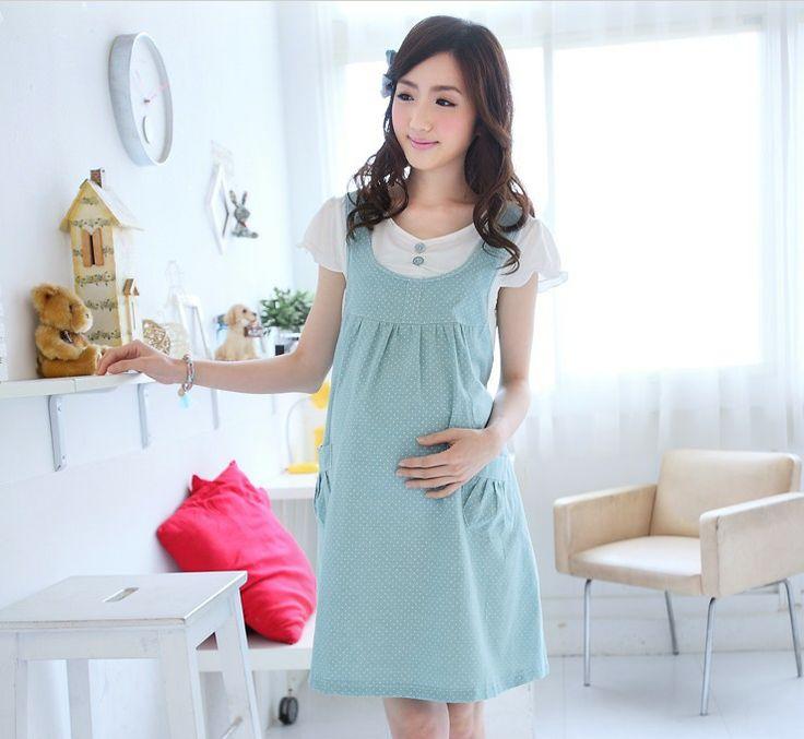 2014 Maternity Clothing Summer Fashion Maternity Dress for Pregnant Women Gravida Wear Light Blue White Dot Short Sleeve Clothes