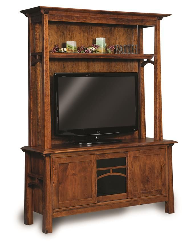 Amish Artesa Two Piece Entertainment Center with Three Doors A combination of open shelving, spacious display surface and stunning solid wood.