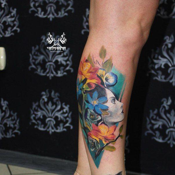 tattoo тату абстракция девушка girl flowers