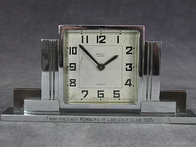 Vintage Art Deco Skyscraper Chrome Mantel Clock Hamilton