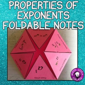 Properties of Exponents Foldable Notes This set of foldable notes is designed to use in an interactive notebook to be a reference for the rules or properties of exponents. There is an example in variable terms on the flap and students write a brief explanantion under the flap.