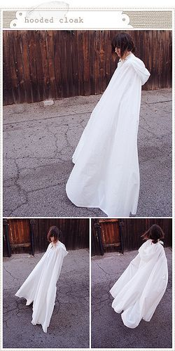 Hooded cloak from two bedsheets - tutorial.