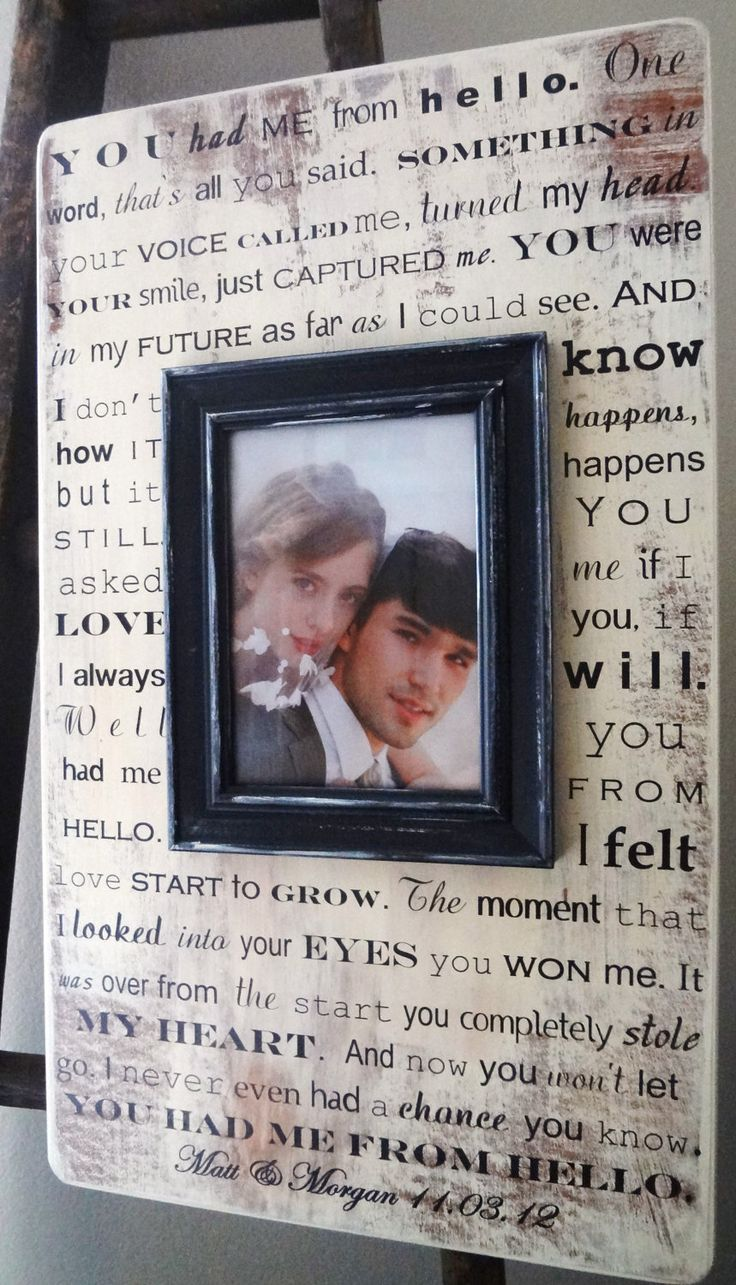 Wedding Anniversary Birthday Frame 22 x 13 Gift  for Bride and Groom Song Lyrics Quote You Had Me From Hello. $62.00, via Etsy.