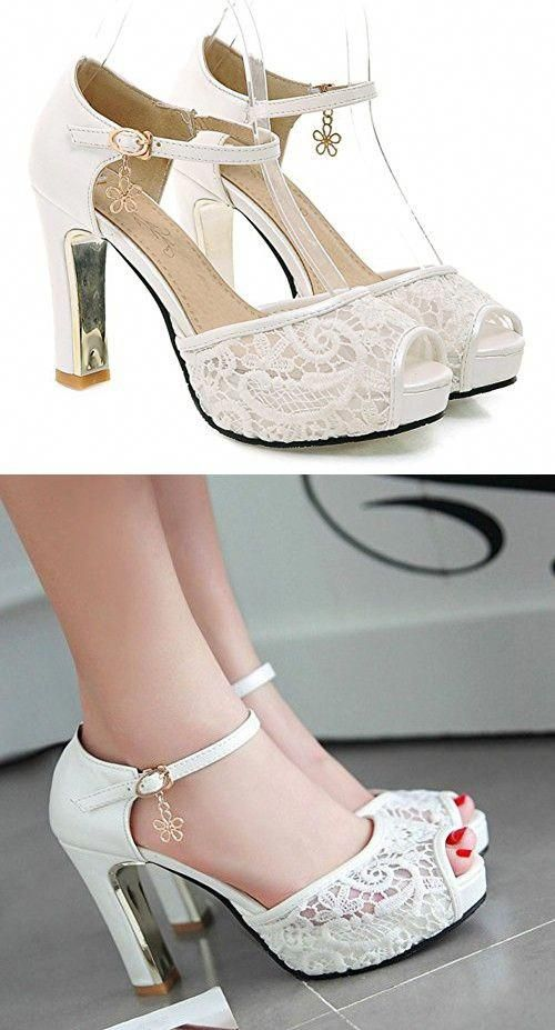 a0d10f6045f2 Sfnld Women s Sweet Peep Toe Low Cut Mesh Platform Ankle Strap High Chunky  Heel Pumps Shoes