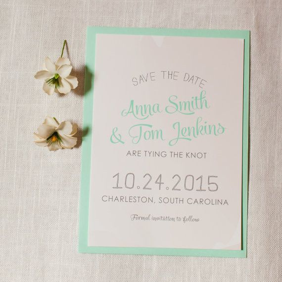 Watercolor Save the Date Mint Blush Peach Gray Whimsical Spring Summer Wedding