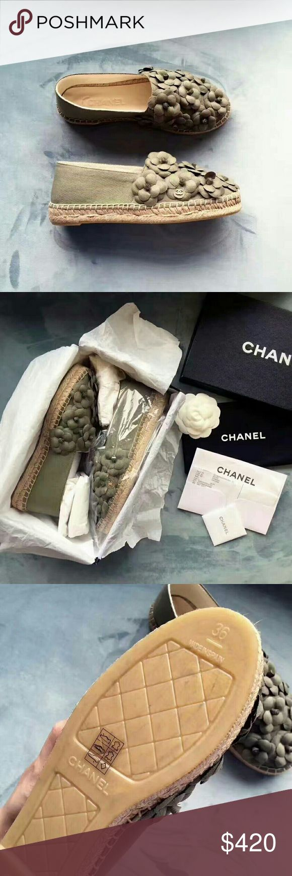 Chanel authentic 2017 new style flower espadrilles Chanel authentic 2017 new style flower espadrilles, size Euro 35-39, with box dustbag receipt, new style, very beautiful, if interest, contact clockdadida  @  gmail , better price, thanks Chanel Shoes Espadrilles