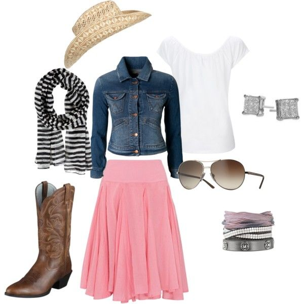Oh!  Yes, this is definitely my style! :)  Not all the accessories, but the general outfit is adorable!!!! Pants instead!