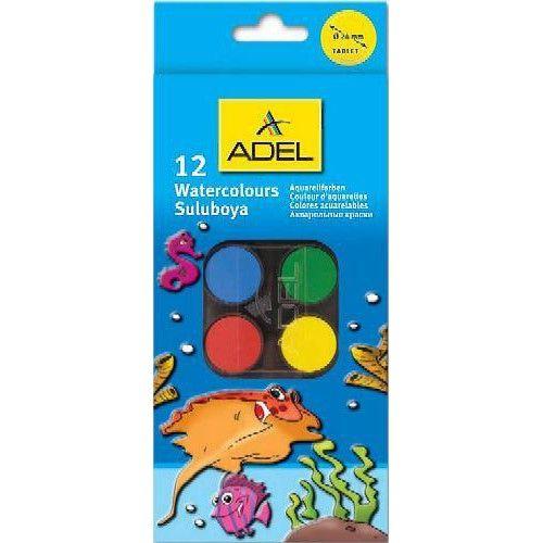 Kisgombos vízfesték készlet 12 darabos, ecsettel - Adel 933 - Akvarell festék - 559Ft - Vízfesték - Vízfesték készlet - Akvarell festék