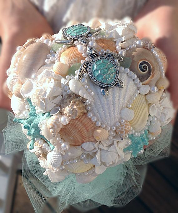 Beach Bouquet Seashell Turtles By BeachBasketBride On Etsy 21000