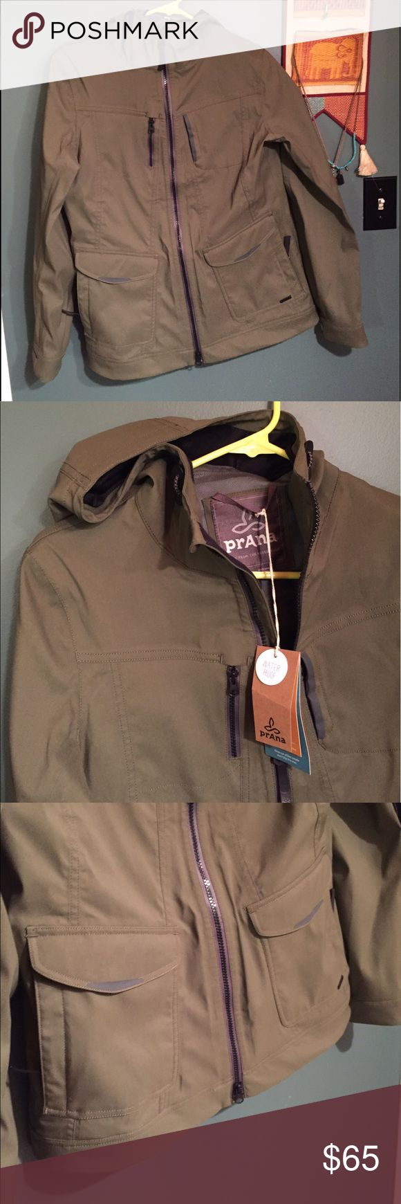 NEW prAna Halle Hooded Jacket - water resistant Waterproof adventure jacket from eco brand, prAna! New with tags, hasn't been worn. Tag says Small but it fits like a Medium. I'm 5'9, 130 lbs and it was a bit too big. Ordered an XS and wear it all the time. Love this jacket. Prana Jackets & Coats