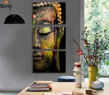 lienzo sin estructura de pared con buda de colores dividido en 3 piezas, imagen artística con efecto de pintura al óleo sobre lienzo para decoración del salón, sin marco F008  (China)