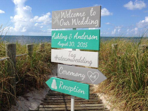 Silber Aqua willkommen Hochzeit Zeichen Strand von iDecor4you