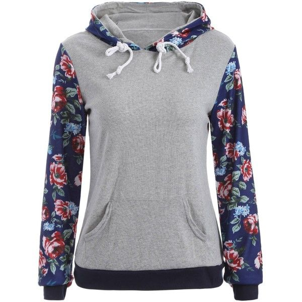 Pocket Floral Hoodie ($19) ❤ liked on Polyvore featuring tops, hoodies, pocket hoodie, hoodie top, sweatshirt hoodies, flower print tops and floral hoodie