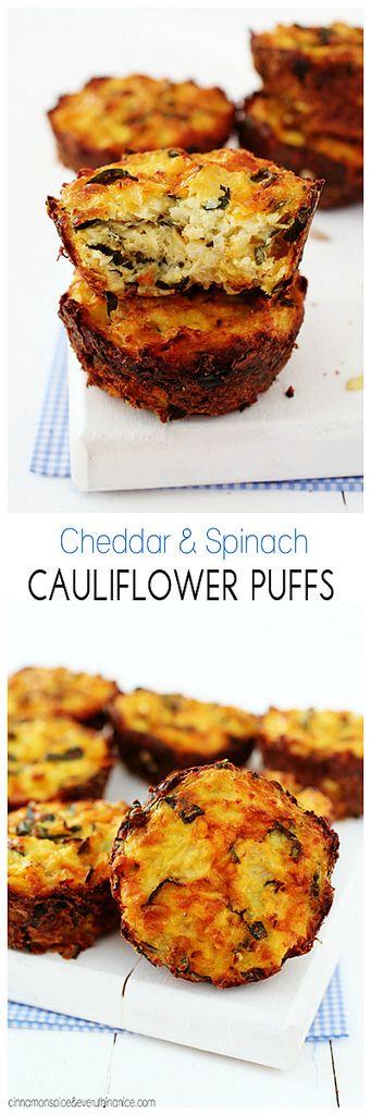 Baked Cauliflower Puffs w/ Cheddar & Spinach