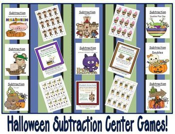 Eight Halloween Subtraction Center Games By Fern Smith  #Math #Teacher www.FernSmithsClassroomIdeas.com
