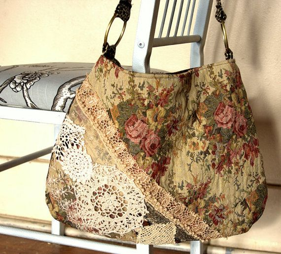 Romantic laces tapestry bag by Justbepurses on Etsy,