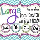 "This packet contains bright chevron large word wall headers (A to Z) in two sizes: 7 inch and 5 inch.  The file also contains ""WORD WALL"" and digra..."